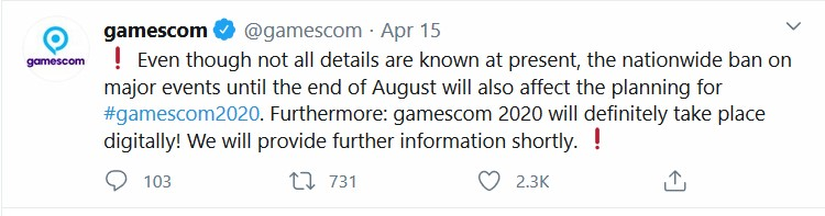 Gamescom informed their followers of their plans for online event in Twitter on 15th of April.